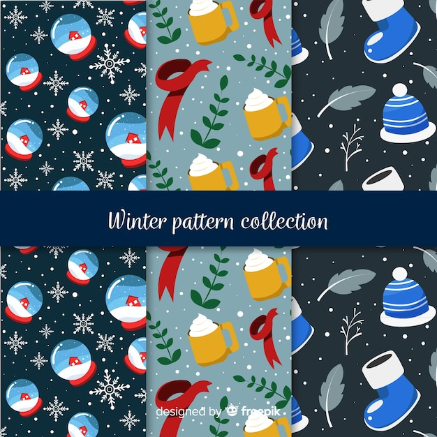 冬の要素パターンコレクション 無料ベクター