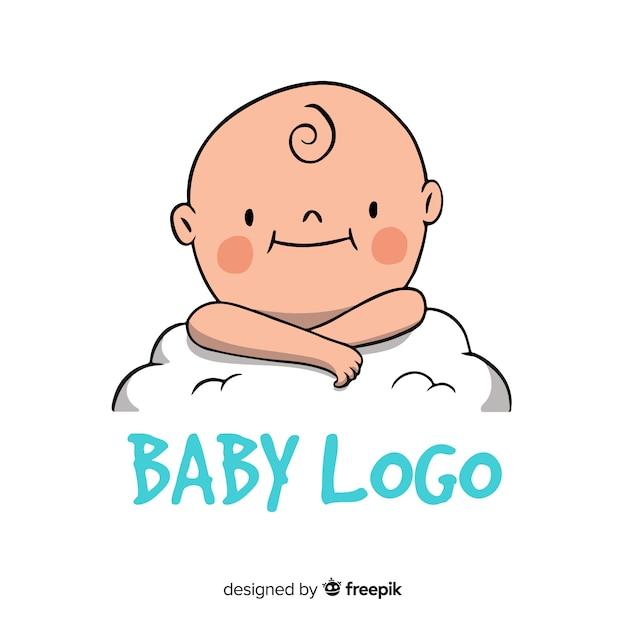 現代手描きの赤ちゃんロゴテンプレート 無料ベクター