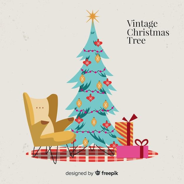 ヴィンテージクリスマスツリー 無料ベクター