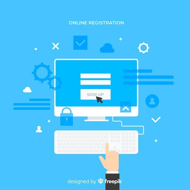 現代のオンライン登録コンセプト 無料ベクター