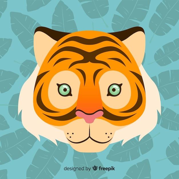 Прекрасное лицо тигра с плоским дизайном Бесплатные векторы