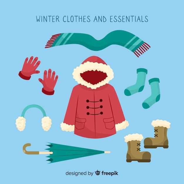 Зимняя одежда и предметы первой необходимости Бесплатные векторы