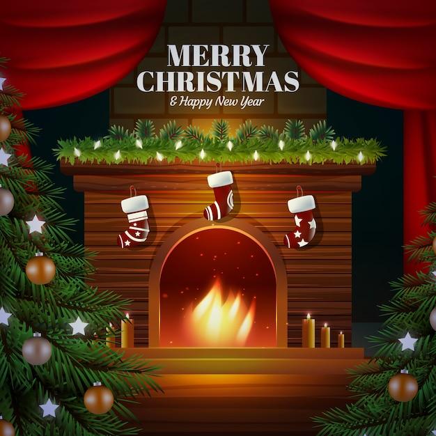 素敵なスタイルのクラシッククリスマスの背景 無料ベクター