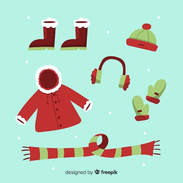冬の洋服&エッセンシャル 無料ベクター