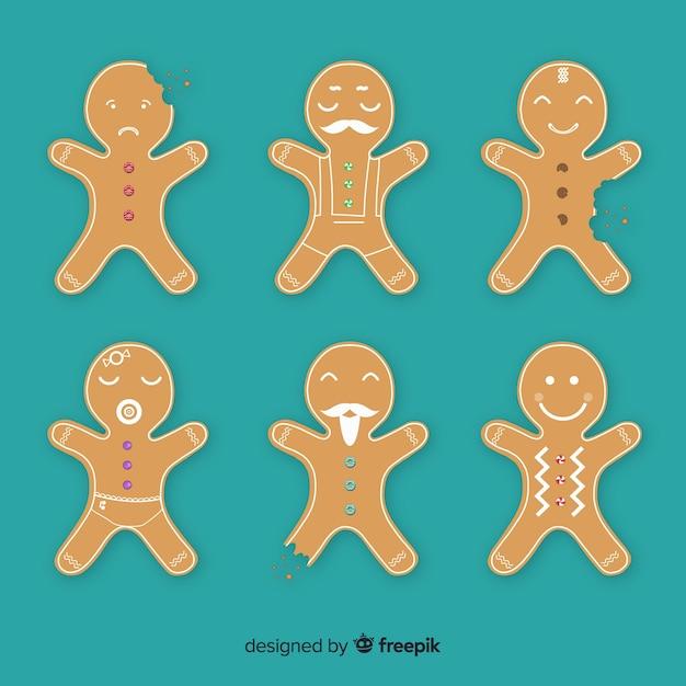 ジンジャーブレッドマンクッキーコレクション 無料ベクター