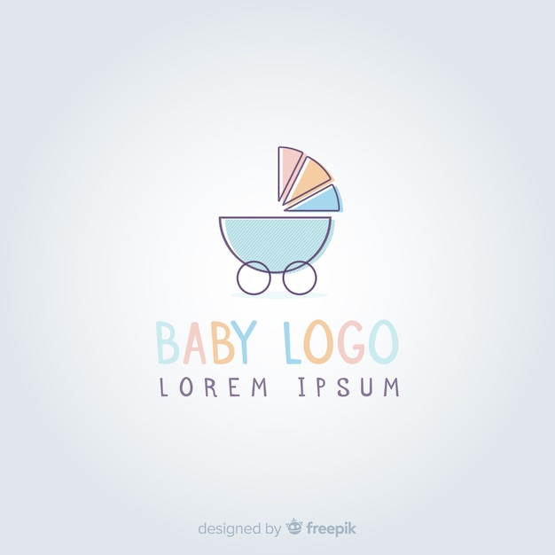 素敵な手描きの赤ちゃんのロゴテンプレート 無料ベクター