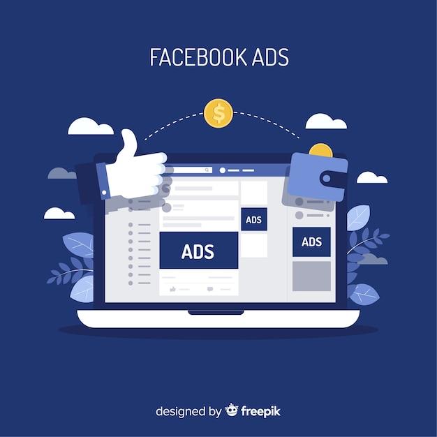 フラットデザインの最新のフェイスブック広告のコンセプト 無料ベクター