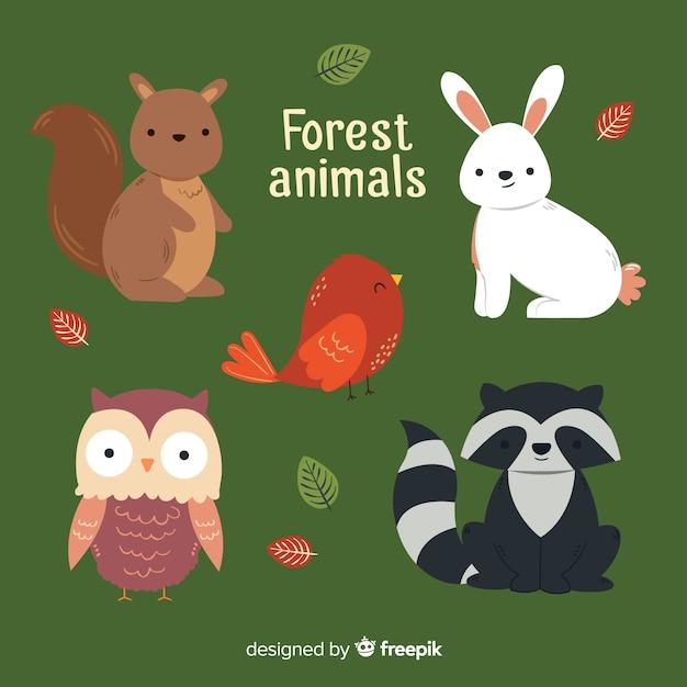 冬の森の動物の素敵なセット 無料ベクター