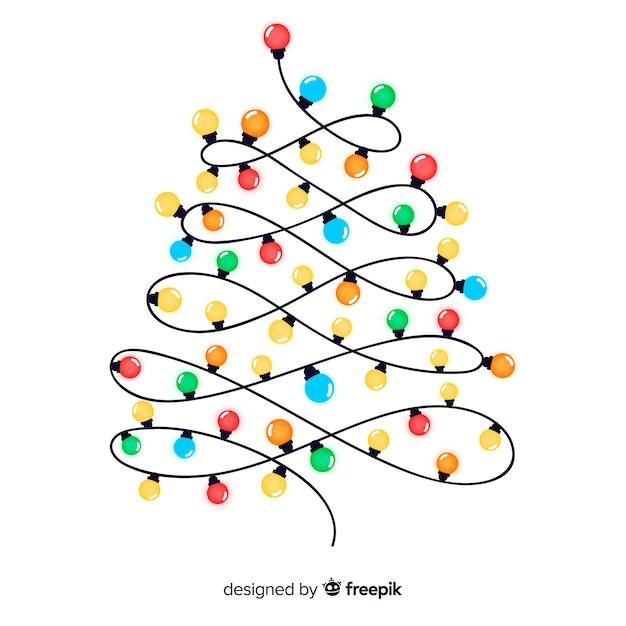 クリスマスツリーライトガーランドイラスト ベクター画像 無料ダウンロード