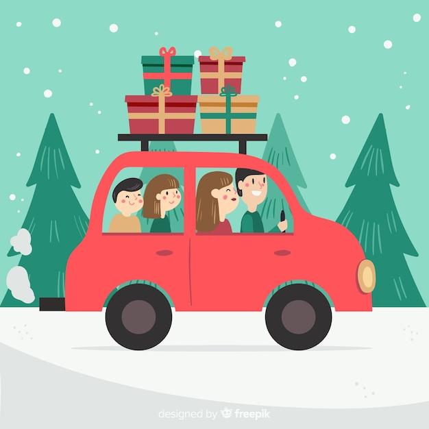家族のクリスマス旅行の背景 無料ベクター