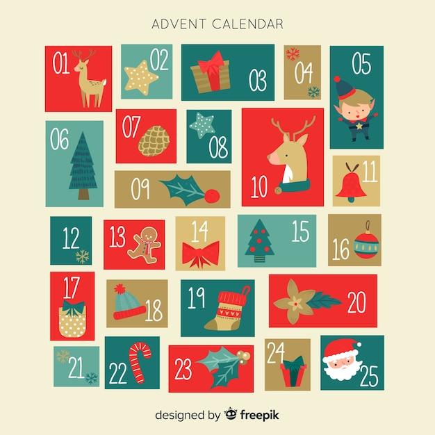 ヴィンテージアドベントカレンダー 無料ベクター