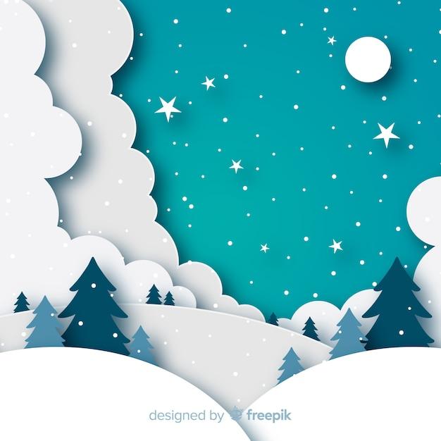 Зимний пейзаж фона в стиле бумаги Бесплатные векторы