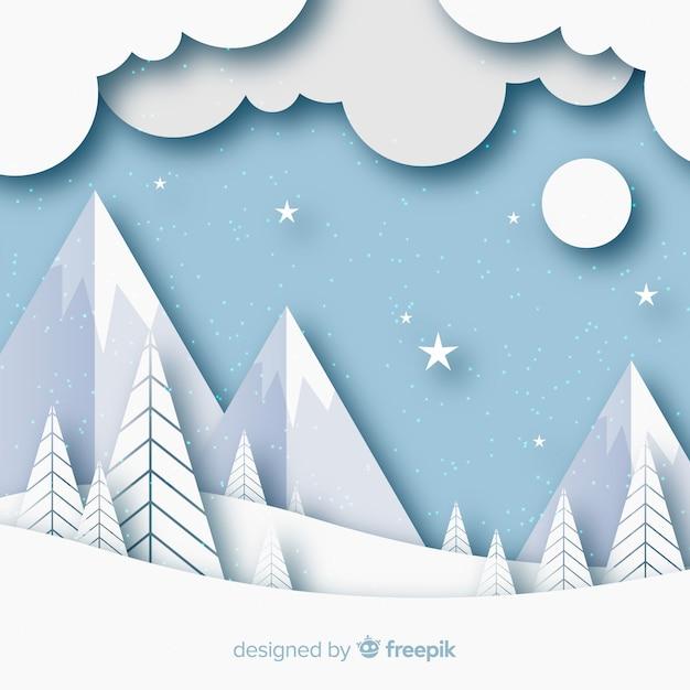 紙スタイルの冬の風景の背景 無料ベクター