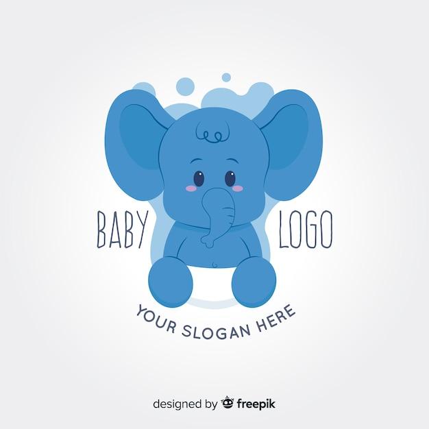 赤ちゃんゾウのロゴ 無料ベクター