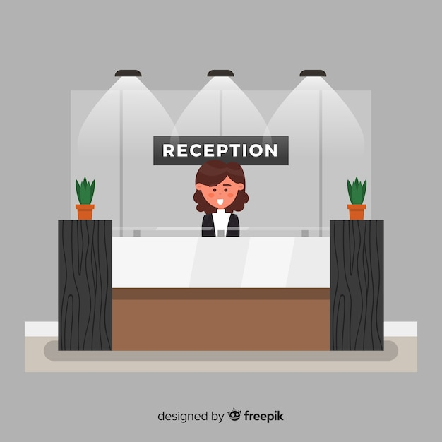 フラットデザインのモダンなホテルレセプション 無料ベクター