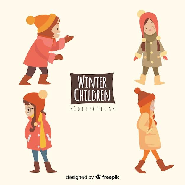 Коллекция зимних детей Бесплатные векторы