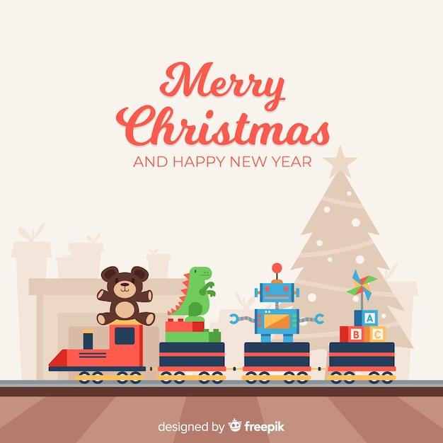 カラフルなおもちゃと素敵なクリスマスの組成 無料ベクター