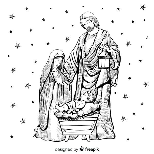 手描きのクリスマスの組成 無料ベクター
