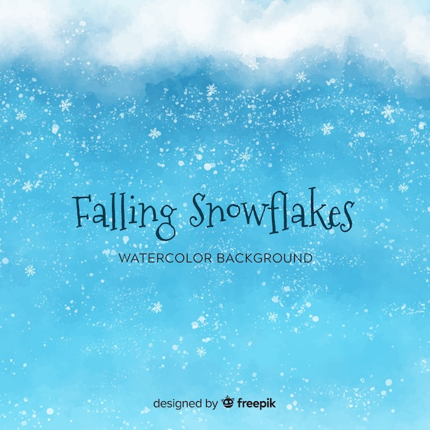 水色の雪片と冬の背景 無料ベクター