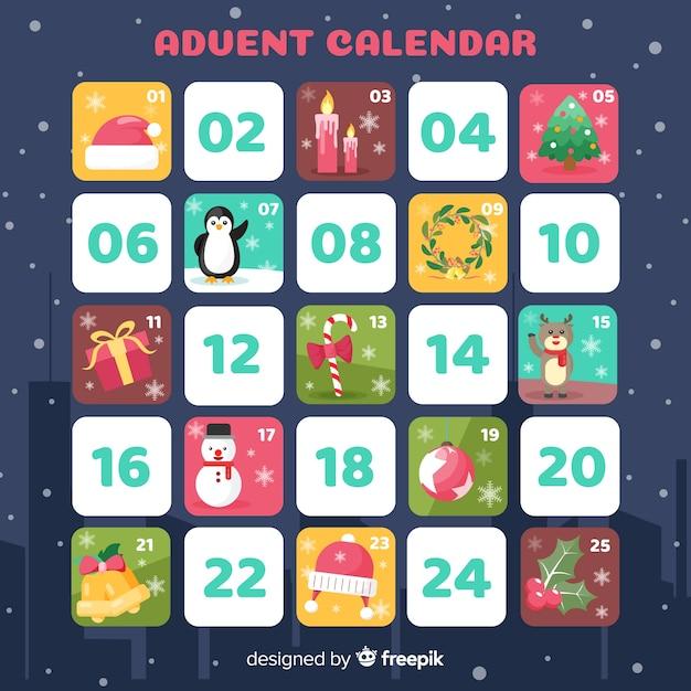 フラットアドベントカレンダー 無料ベクター