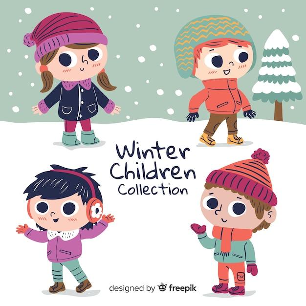 Симпатичная коллекция зимних детей Бесплатные векторы