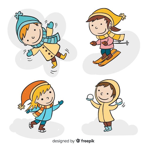 手描きの冬の子供コレクション 無料ベクター