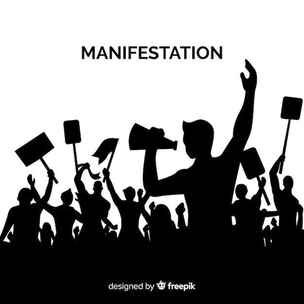 Революционная композиция с силуэтом людей, протестующих Бесплатные векторы