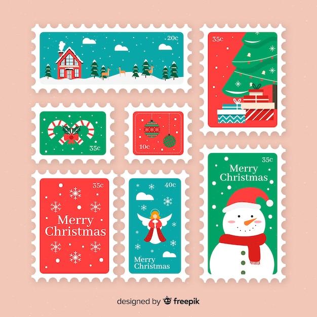 Коллекция рождественских плоских марок Бесплатные векторы