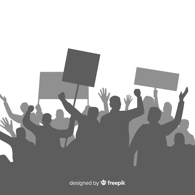 抗議する人々のシルエットと革命の構図 無料ベクター