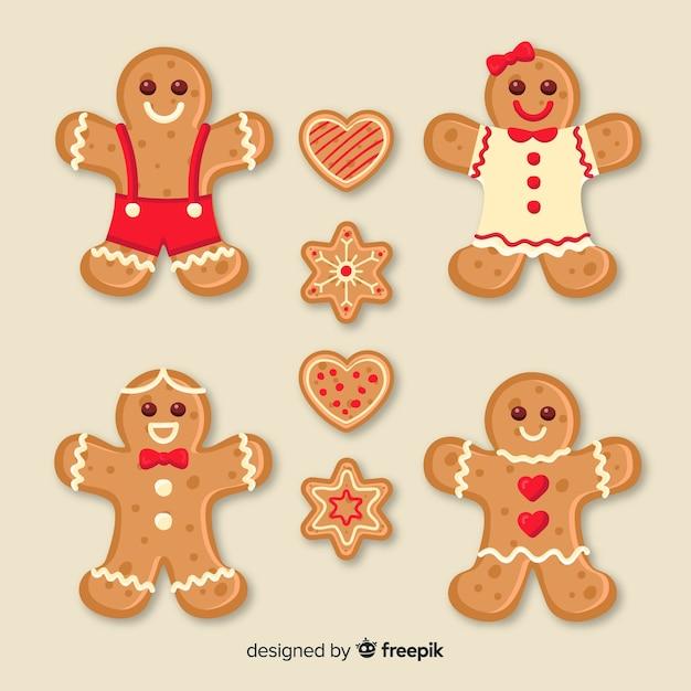 ジンジャーブレッドクッキーコレクション 無料ベクター