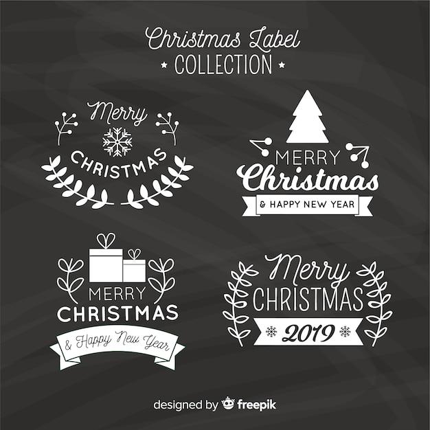 黒板クリスマスラベルコレクション 無料ベクター