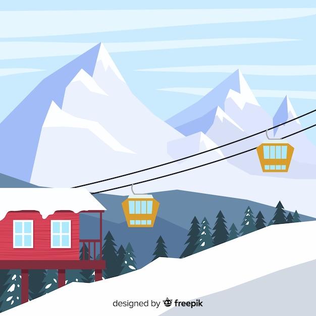 フラットスキー場のイラスト ベクター画像 無料ダウンロード