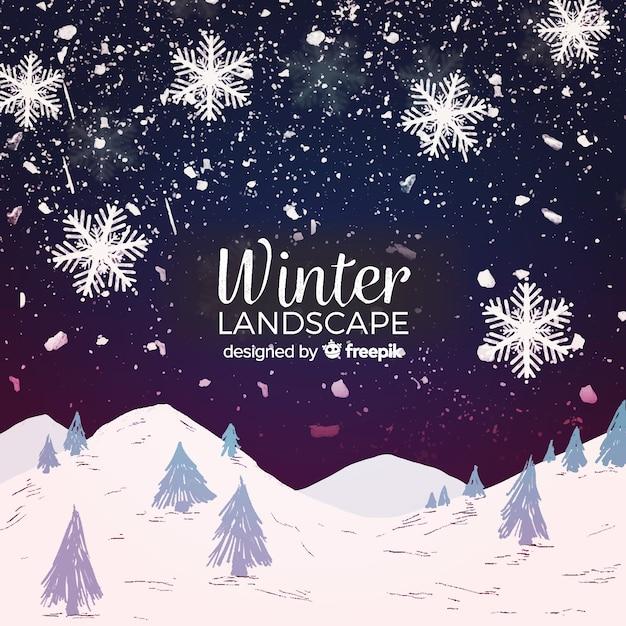 素敵な冬の風景の構成 無料ベクター