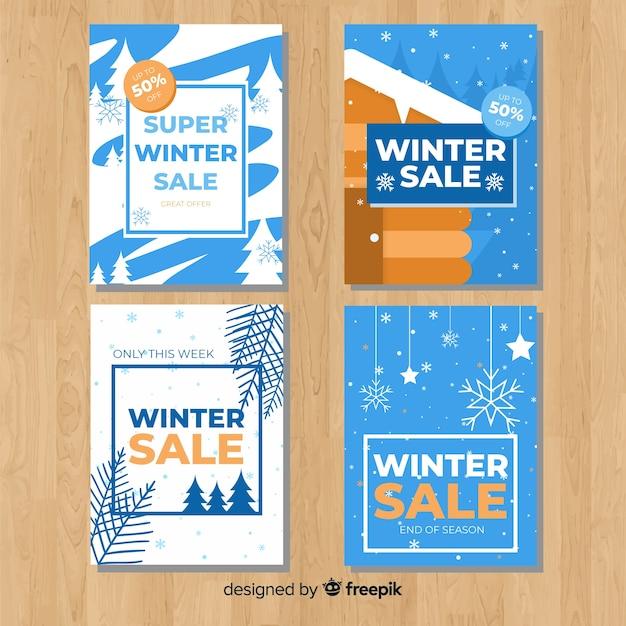 冬のセールカードの素敵なセット 無料ベクター