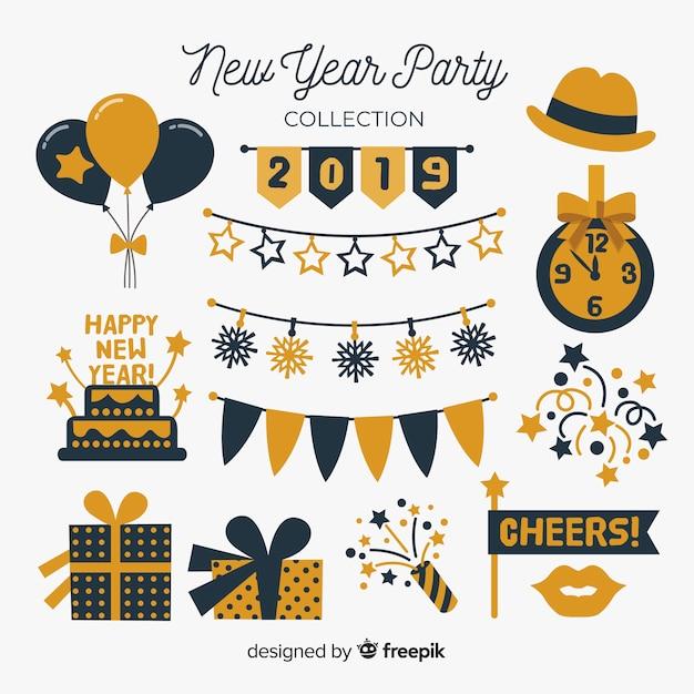 新年パーティーの要素コレクション 無料ベクター