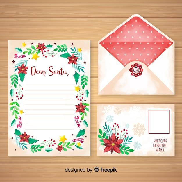水彩クリスマスレターと封筒のテンプレート 無料ベクター