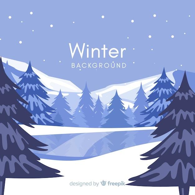 凍った湖の冬の背景 無料ベクター