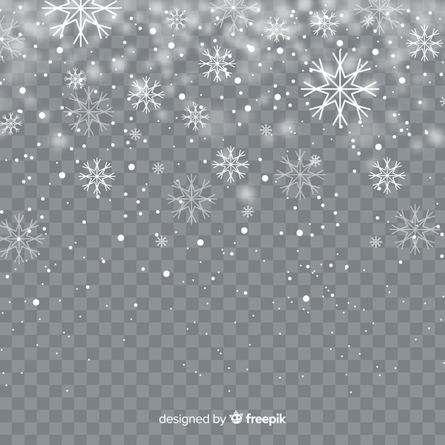 Реалистичные падающие снежинки на прозрачном фоне Бесплатные векторы