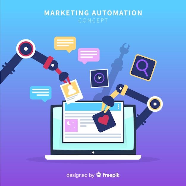 Маркетинговая автоматизация плоского фона Бесплатные векторы