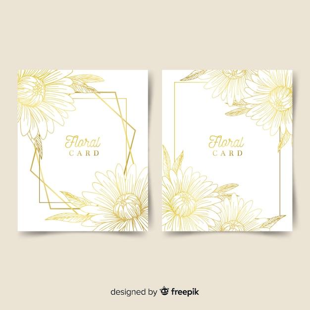 黄金の花カードコレクション 無料ベクター