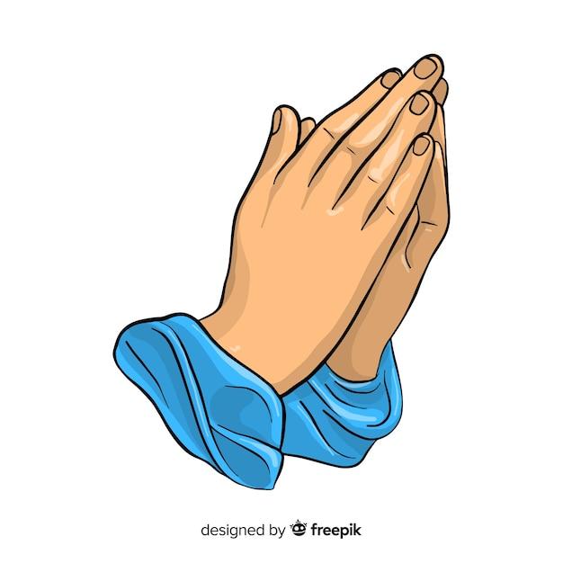 Фон молящихся рук Бесплатные векторы