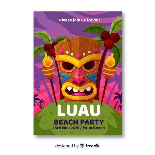 ルアウのビーチパーティーバナー 無料ベクター