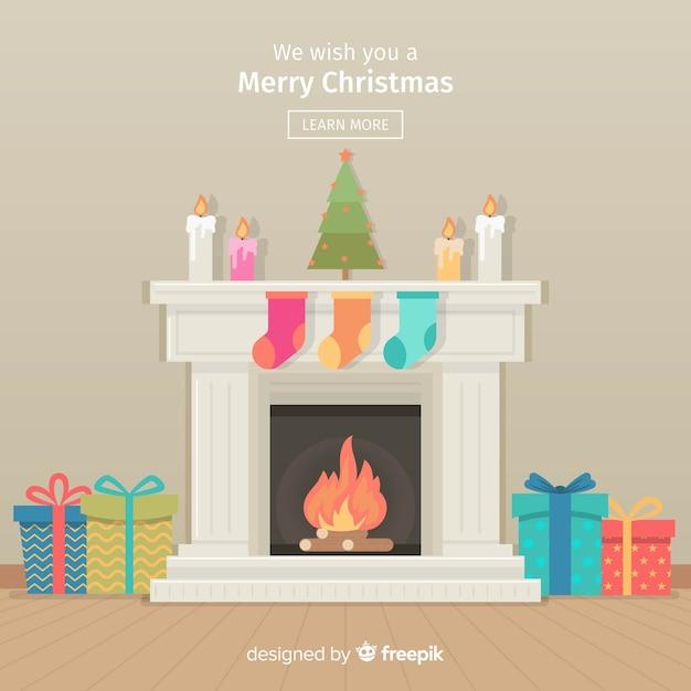 カラフルな暖炉クリスマスの背景 無料ベクター