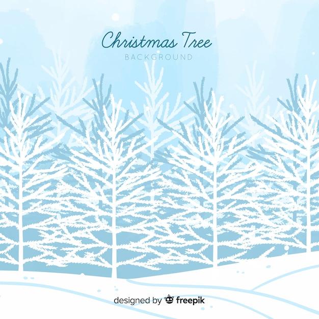 雪で覆われた木の背景 無料ベクター