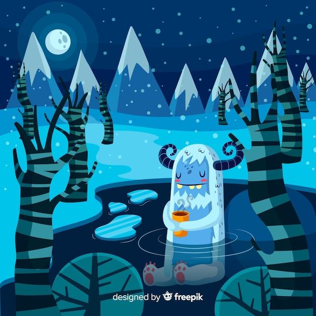 素敵なモンスターと冬の背景 無料ベクター