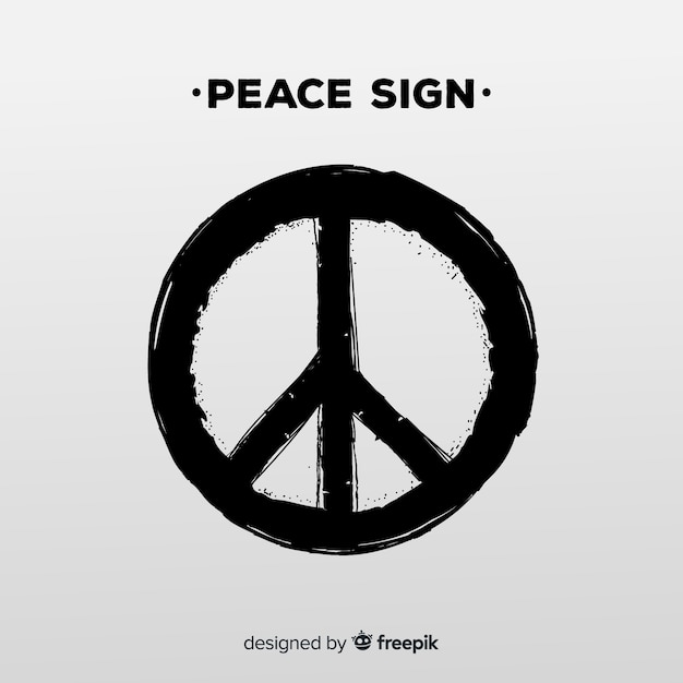 モダンな平和シンボル、グランジスタイル 無料ベクター