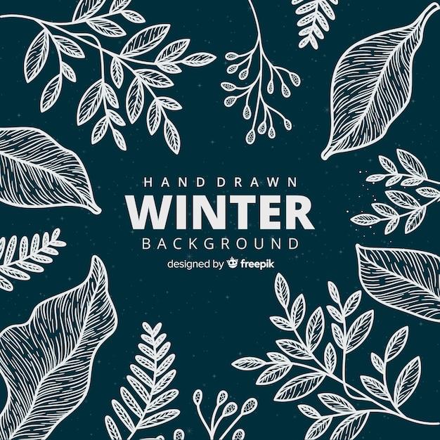 花のスタイルで手描きの冬の背景 無料ベクター