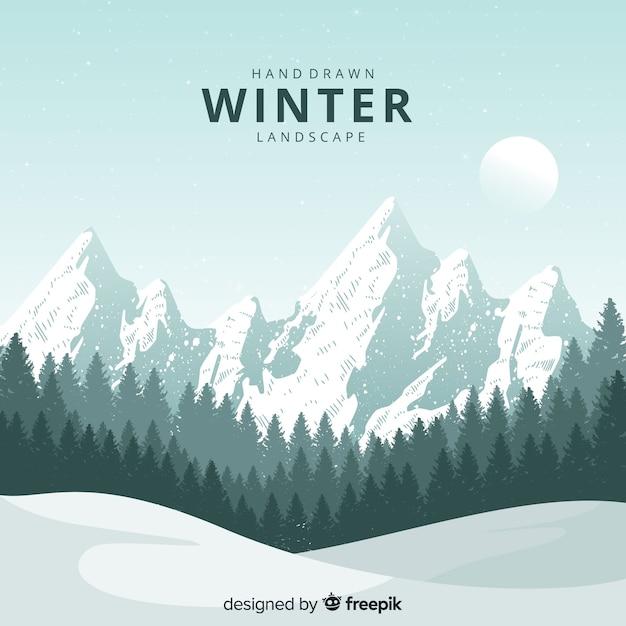 手描きの自然な冬の風景 無料ベクター