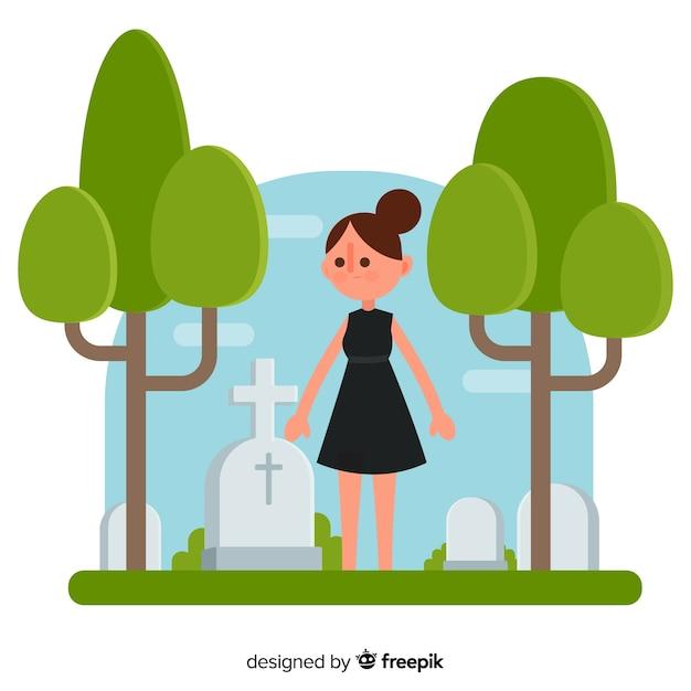 Женщина на кладбище Бесплатные векторы