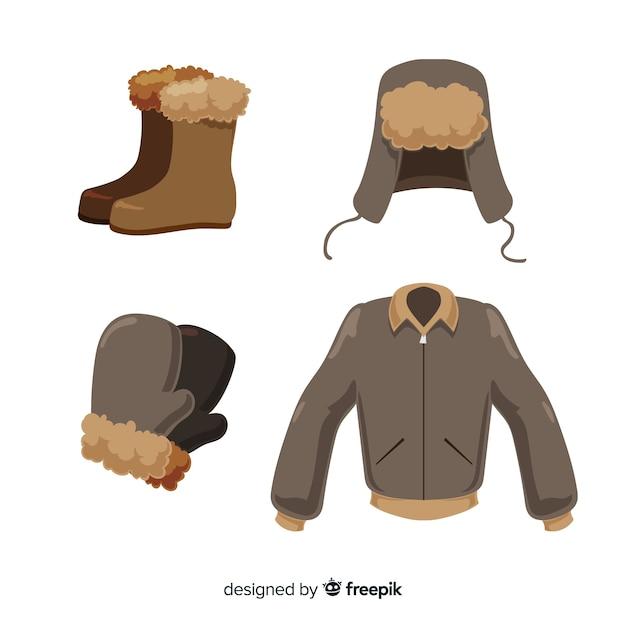 Плоская зимняя одежда и предметы первой необходимости Бесплатные векторы